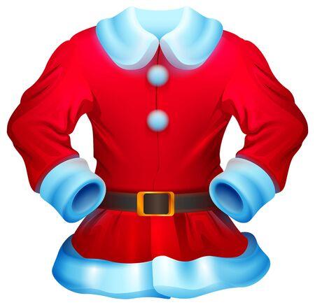 Red christmas santa claus costume isolated on white illustration. Red santa fur coat. Vector cartoon Ilustração