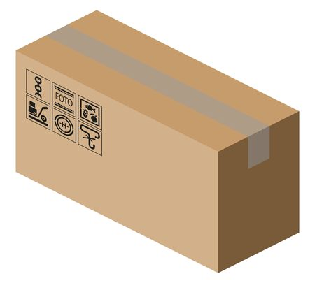 Cardboard brown box isometric view 3d illustration with shipping marks. Isolated on white vector Illustration