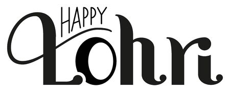 Happy Lohri lettering text indian holiday Punjabi festival for greeting card. Isolated on white vector illustration