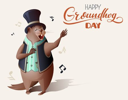 Happy Groundhog Day ornate lettering text greeting card. Groundhog wake up, sings song and casts off shadow. Fun vector cartoon illustration