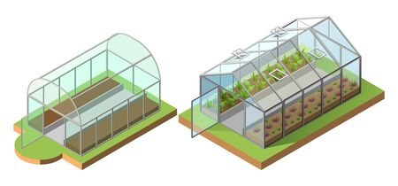 Set greenhouse for growing vegetables. Isometric icon 3d illustration. Isolated on white vector 일러스트