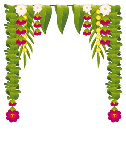 Mala indian flower garland for ugadi holiday. Floral mango leaves ornate decoration. Isolated on white vector illustration