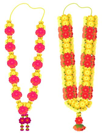 Indian flower garland mala for wedding ceremony. Traditional decoration for couple. Isolated on white vector illustration Ilustração