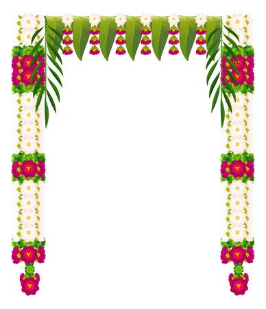 Flower garland with mango leaves. Indian traditional Ugadi holiday decoration. Isolated on white vector illustration