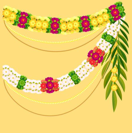 Flower garland and palm leaf. Indian mala traditional ornate decoration. Vector illustration Ilustração