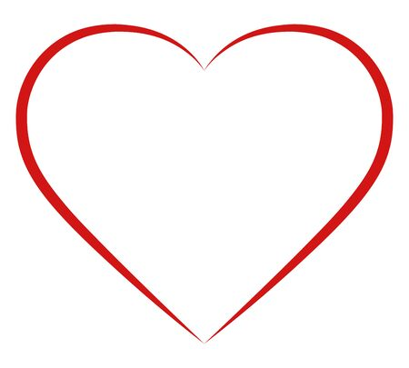 Red heart icon silhouette shape symbol valentines day. Isolated on white vector illustration