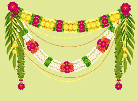 Mala traditional Indian decoration garland of flowers and mango leaves. Vector illustration