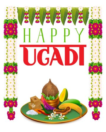 Happy Ugadi traditional food and garland decoration. Mango leaf, sugar, salt, banana, neem and flower garland mala. Isolated on white vector cartoon illustration Ilustração