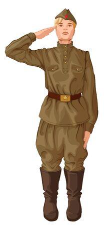 Russian soldier salutes. Military man in retro uniform isolated on white. Vector cartoon illustration Ilustracje wektorowe