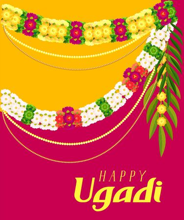 Happy ugadi text greeting card. Floral garland mala. Vector template illustration Ilustração