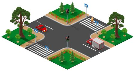 Street road intersection with traffic light. Pedestrian man crosses zebra road. Isolated on white vector 3d isometric illustration
