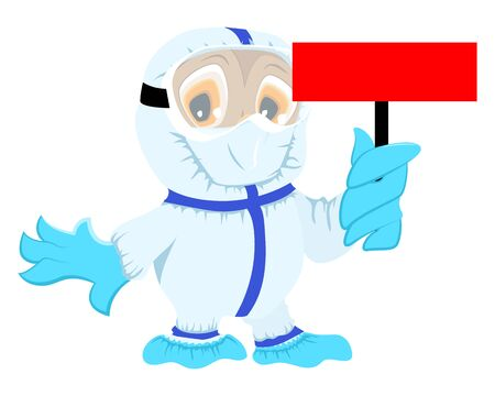 Owl doctor in protective medical suit holds red board coronavirus. Danger quarantine corona virus covid-19. Isolated on white vector cartoon illustration