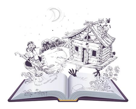 Baba Yaga old witch in mortar and hut on chicken legs. Russian folk fairy tale open book. Isolated on white vector cartoon illustration Иллюстрация
