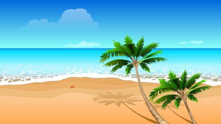 Clear blue sea, two coconut palm tree on sandy beach. Seamless horizontal tropical landscape. Vector cartoon illustration Vectores