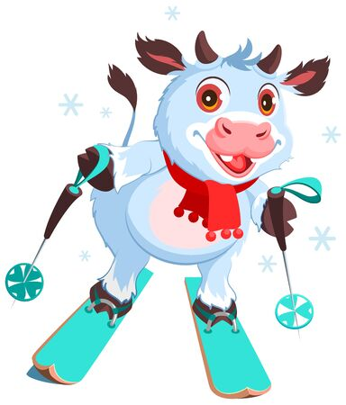 White cow symbol 2021 skiing. Fun vector cartoon illustration. Vector isolated on white