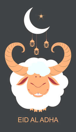 Eid al Adha template greeting card Feast of Sacrifice. Sacrificial animal ram, crescent moon and lantern on night sky. Vector cartoon illustration