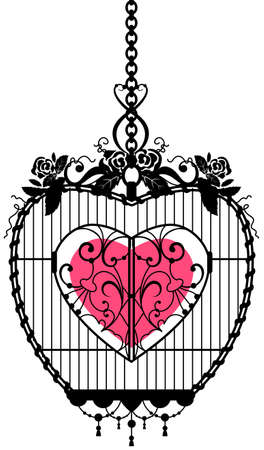 Heart shape symbol of love locked in an iron cage. Isolated on white vector illustration