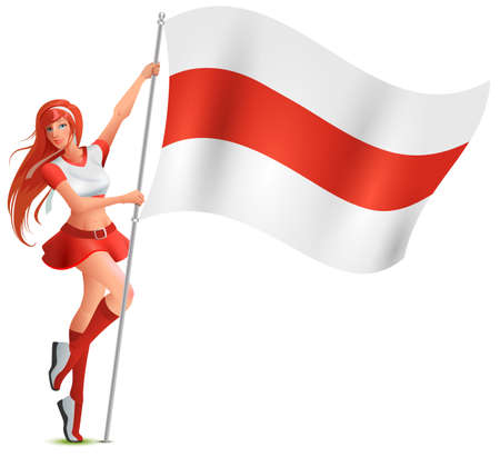 Beautiful young girl holding white-red-white flag of belarus. Tricolor symbol of Belarusian protest. Isolated on white vector cartoon illustration