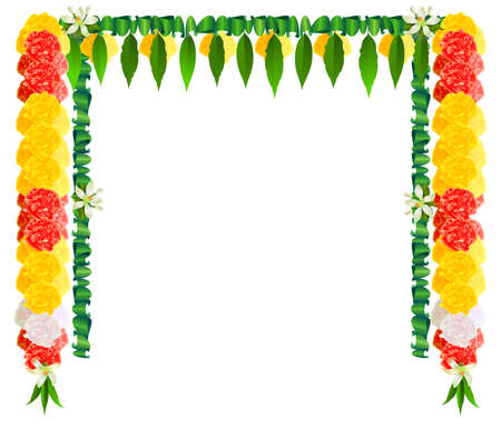 Flower garland mala for ugadi indian holiday. Template frame greeting card banner. Vector cartoon illustration isolated on white