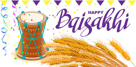 Happy Baisakhi text greeting card. Indian harvest festival drum and wheat rice. Vector cartoon illustration