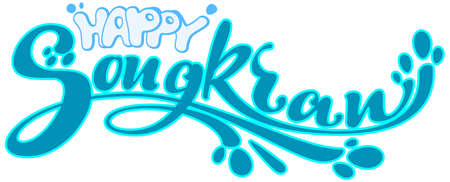 Happy songkran festival blue water text lettering isolated on white. Vector cartoon illustration