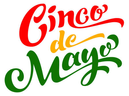 Cinco de mayo text lettering template greeting card. Mexican holiday vector illustration isolated on white