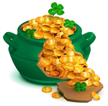 Green broken cauldron pan full of gold coins. Lucky clover quatrefoil symbol st patricks day. Vector cartoon illustration isolated on white