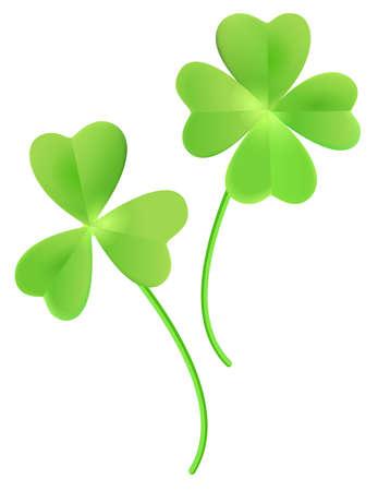 Set clover shamrock and green clover leaf quatrefoil lucky isolated on white. Vector cartoon illustration Stock Illustratie