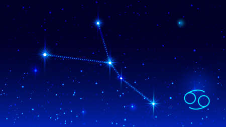 Cancer the Crab constellation in night sky zodiac sign. Vector illustration