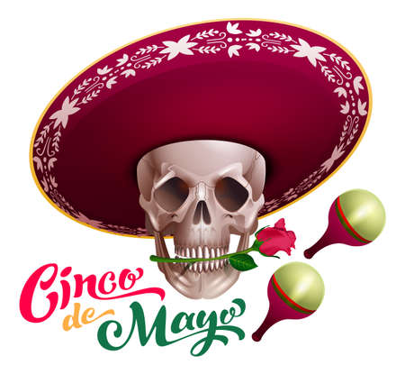 Cinco de mayo text lettering template greeting card. Skull in sombrero hat holds rose flower in teeth. Mexican holiday vector illustration isolated on white