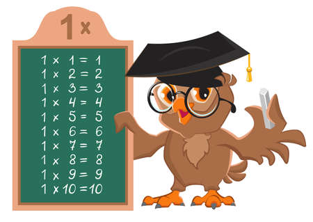 Multiplication table one 1. Owl teacher at chalkboard. Vector cartoon illustration isolated on white