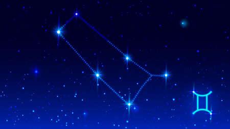 Constellation Twins in night starry sky. Zodiac sign gemini symbol. Vector illustration