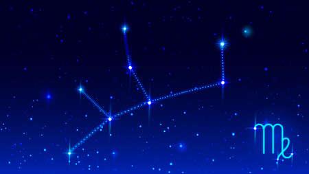 Virgo constellation in night starry sky. Virgo zodiac sign horoscope vector illustration Stock Illustratie