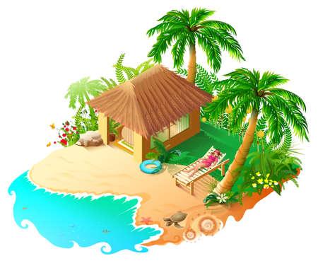 Beach vacation blue sea, green palm trees golden sand. Beautiful woman sunbathing in sun lounger. Isometric 3d vector cartoon illustration isolated on white Ilustração