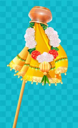 Inverted pot on stick and flower beads garland Ugadi holiday symbol Gudi Padwa. Vector cartoon illustration on transparent background