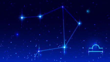 Libra constellation in blue night starry sky. Zodiac sign symbol. Vector illustration