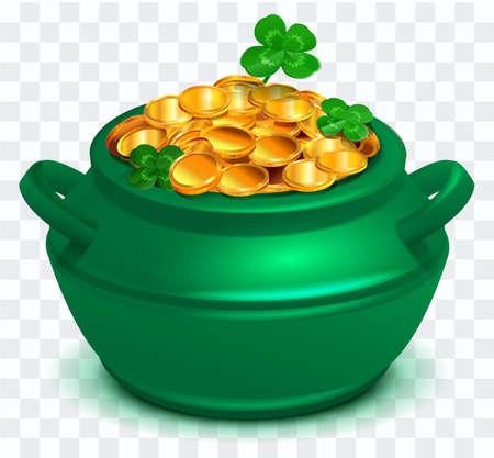 Green cauldron full of gold coin on transparent background. Clover four leaf symbol St. Patrick s Day. Vector cartoon illustration Ilustração