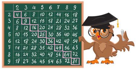 Multiplication table on chalkboard. Owl teacher shows Pythagoras table. Vector cartoon illustration isolated on white