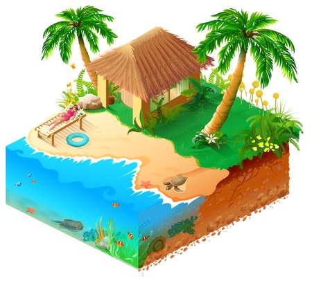 Beach vacation on tropical island isometric 3d illustration. Woman in bikini, palms, sea and hut. Vector cartoon isolated on white