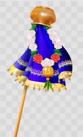 Happy Ugadi indian holiday. Gudi padwa pot on stick and flower garland. Vector cartoon illustration on transparent background Ilustração