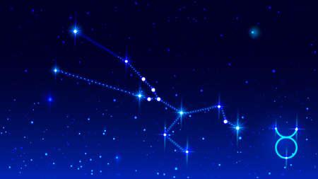 Taurus constellation in night starry sky. Zodiac sign taurus. Vector illustration