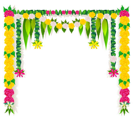 Flower garland mala template indian ugadi holiday isolated on white. Vector illustration