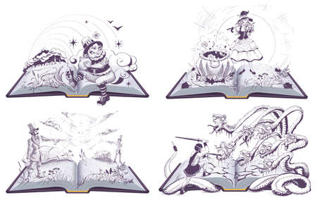 Book with illustration set for library. Hercules and hydra, duel, witch brews potion, dwarf found treasure. Vector isolated on white Stock Illustratie