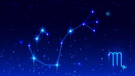 Constellation scorpio zodiac sign in blue night starry sky. Vector illustration