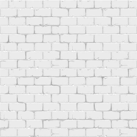 White brick wall seamless background texture realistic surface. Vector illustration