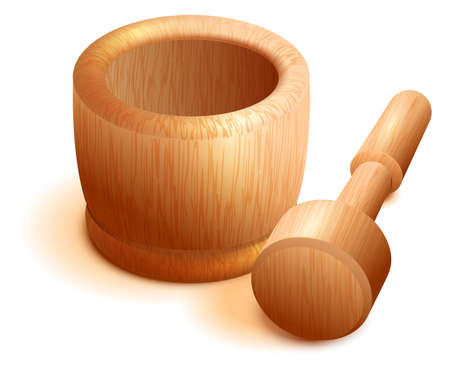Wooden mortar and pestle isolated on white background. Vector cartoon illustration