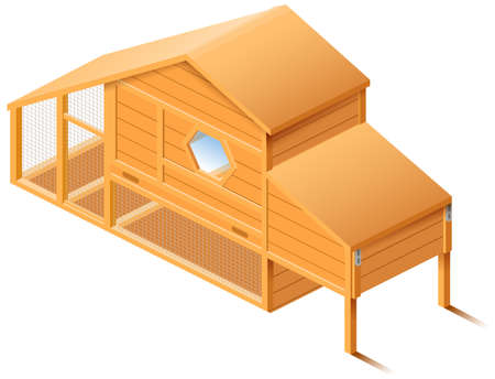 Chicken house coop 3d isometric illustration isolated on white background. Vector cartoon