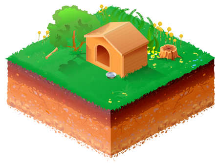 Wooden doghouse on green grass isometric 3d illustration. Vector cartoon isolated on white