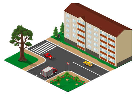 Three way junction intersection with main road isometric illustration. Vector 3d isolated on white