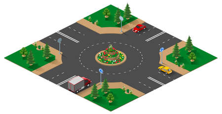 Roundabout isometric 3d illustration isolated on white. Vector cartoon
